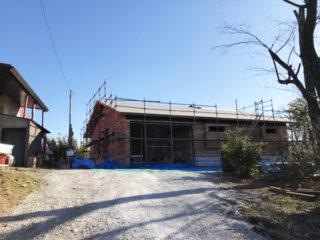 修善寺の平屋 外壁工事中